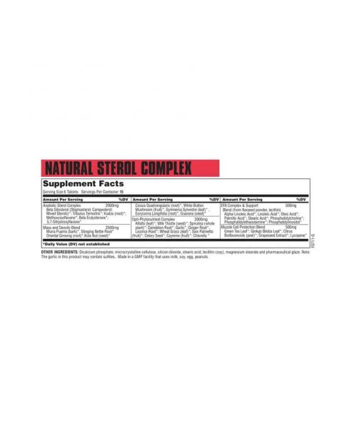 Informatii Nutritionale Natural Sterol Complex 90 tabs Universal Nutrition