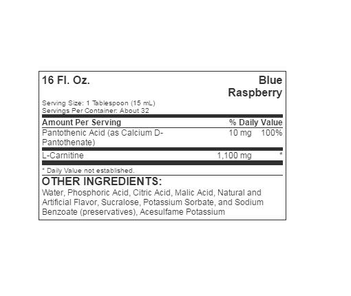 Informatii Nutritionale L-Carnitine Liquid 473ml BlueraspBerry