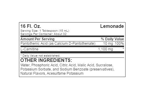 Informatii Nutritionale L-Carnitine Liquid 473ml Lemonade