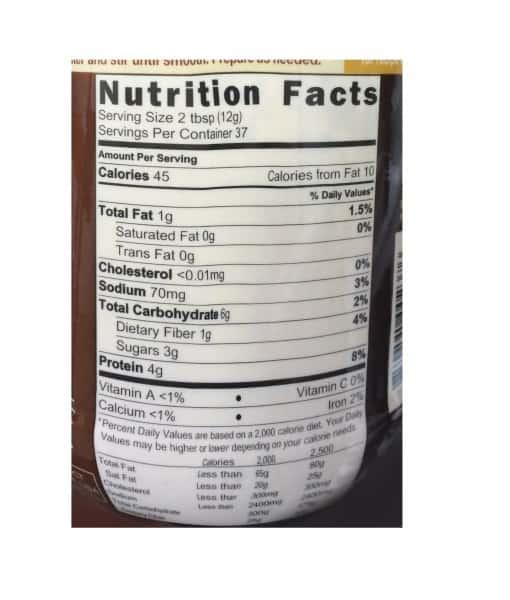 Informatii Nutritionale PB2 Powdered Peanut Chocolate 454 g