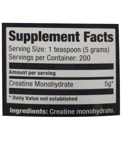 Informatii nutritionale Creatine Monohydrate 1000 g