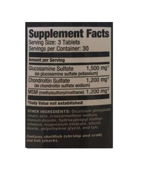 Informatii nutritionale Glucosamine Chondroitin MSM