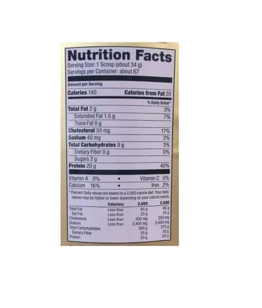 Informatii nutritionale Whey Gold 2270 g Chocolate