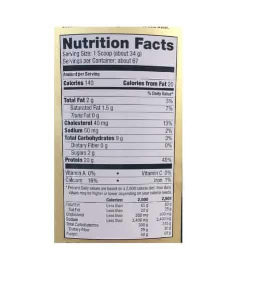 Informatii nutritionale Whey Gold 2270 g Vanilla