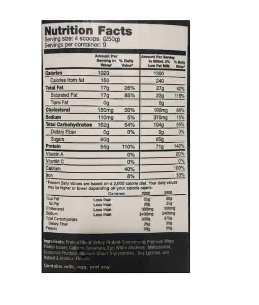 Informatii nutritionale Muscle Juice - 2250 g Vanilla