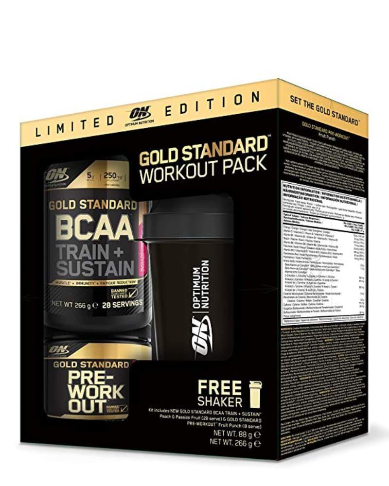 Optimum Nutrition Gold Standard Workout Pack (BCAA 28 serviri + Pre-workout 8 serviri + Shaker cadou)